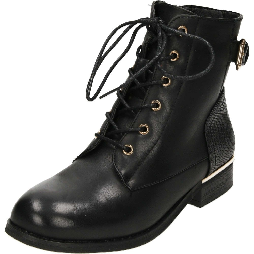 Krush Lace Up Black Flat Military Ankle Boots - Ladies Footwear from ... c38786e85