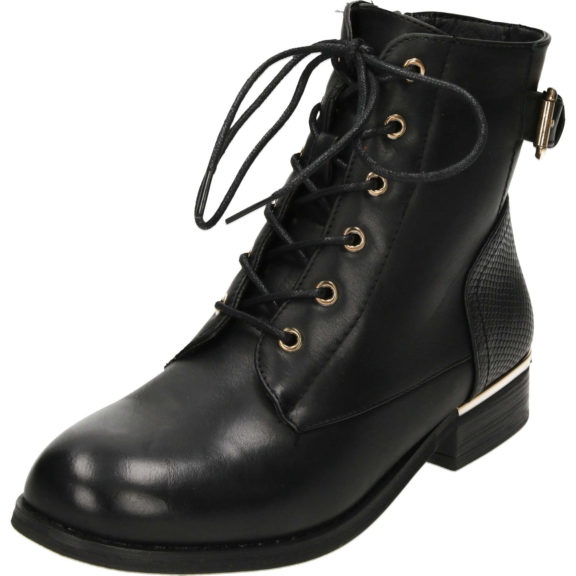 Krush Lace Up Black Flat Military Ankle