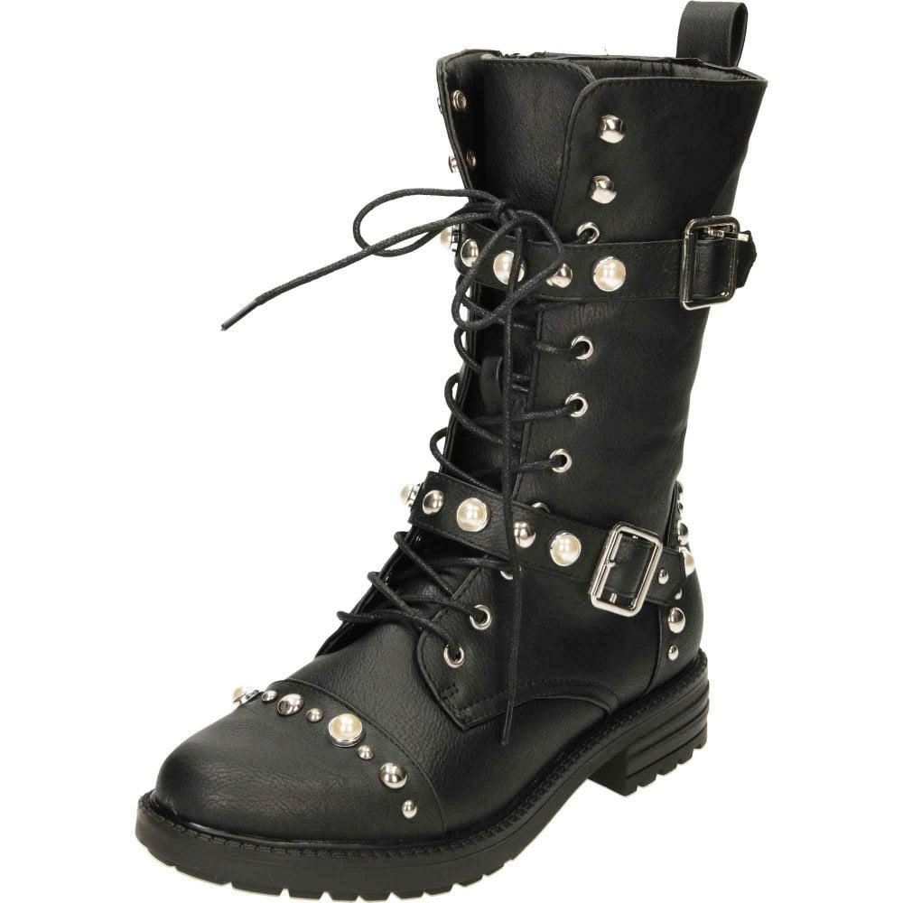Krush Lace Up Black Flat Military Mid Calf Boots - Ladies Footwear ... 0217f6567