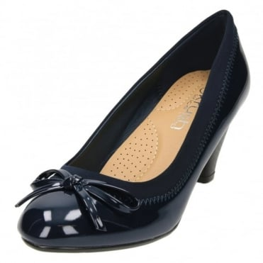 Ladies Patent Matt Mid High Heel Court Shoes Cushioned Insole