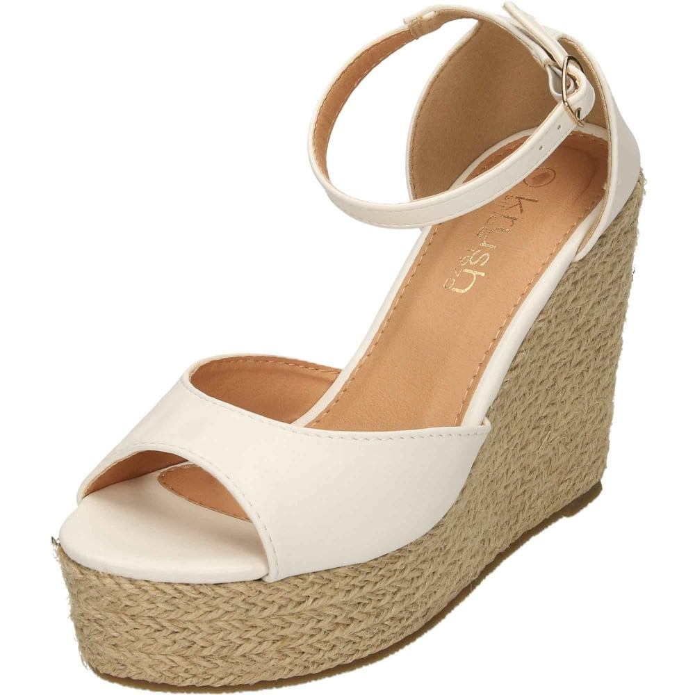 d26a4a9ad72 Krush Wedge Woven Heel Ankle Strap Peep Toe Platforms - Ladies ...