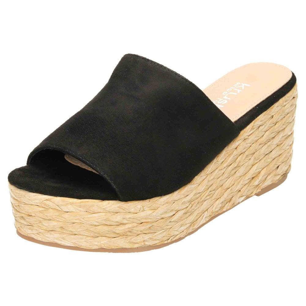 Krush Wedge Woven Heel Platform Sandal Mule Peep Toe - Ladies ...