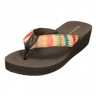 Ladies Dunlop Low Wedge Multi Platform Summer Slip On Toe Post Flip Flops Sandals
