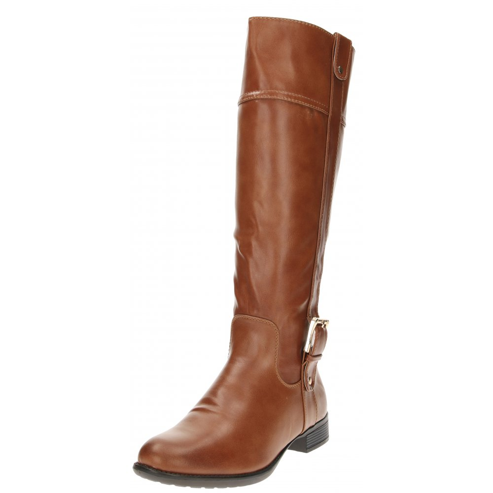 3d64e02f0fdf Manfield Tan Brown Flat Faux Leather Knee High Buckle Fur Lined Riding Boots