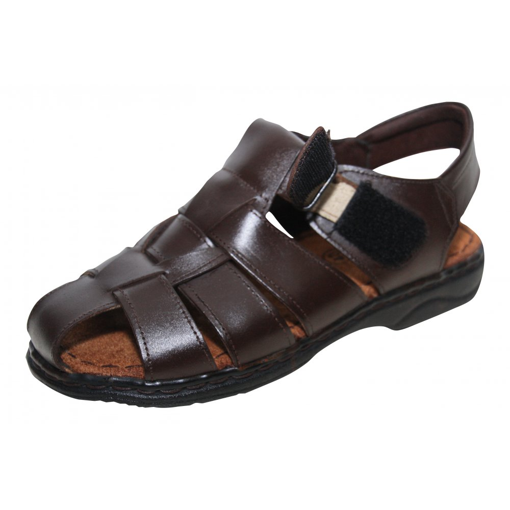 Moza-X Mens Brown Leather Velcro Gladiator Summer Sandals ...
