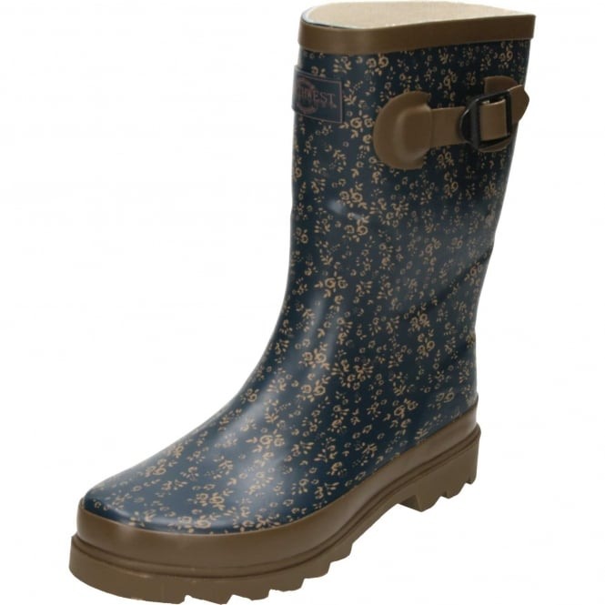 Northwest Territory Floral Print Brown Blue Rubber Wellington Mid Boots