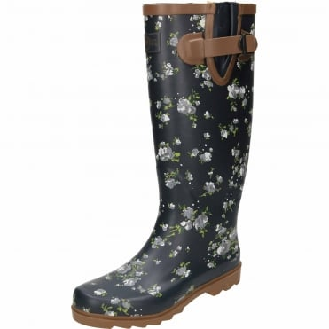 Floral Print Navy Blue Rubber Wellington Long Boots
