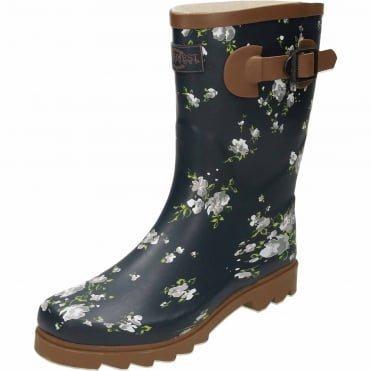 Floral Print Navy Blue Rubber Wellington Mid Boots