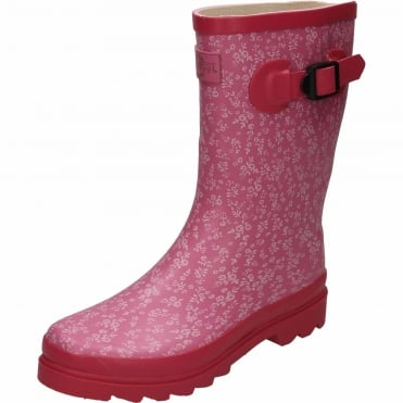 Floral Print Pink Rubber Wellington Mid Calf Boots