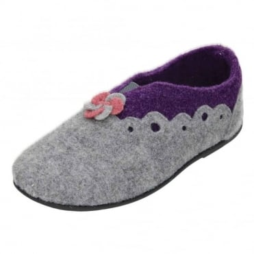 Hannah Dual Wide Fitting Washable Felt Slippers