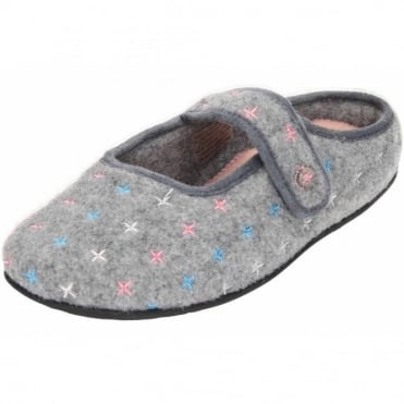 Heidi Dual Wide Fitting Washable Felt Slip On Slippers