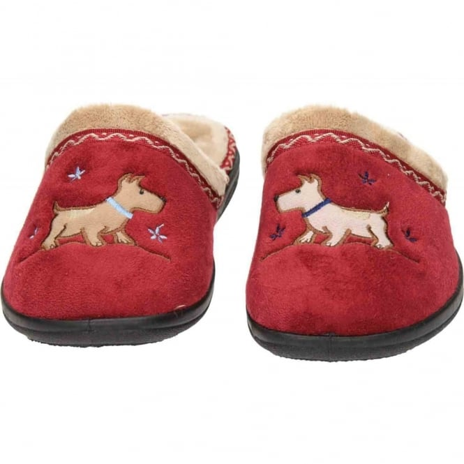 Padders Scotty Dog EE Wide Fitting Washable Slipper Mules