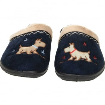 Scotty Dog EE Wide Fitting Washable Slipper Mules