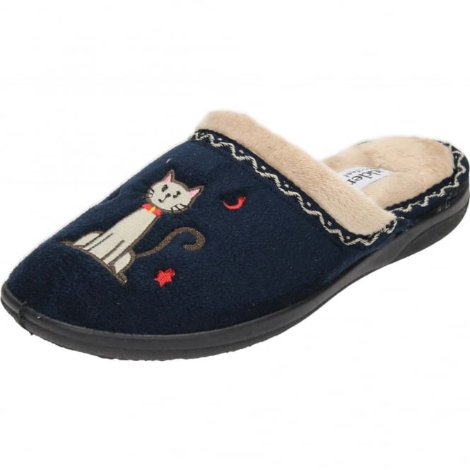 Padders Tabby Cat EE Wide Fitting Washable Slipper Mules