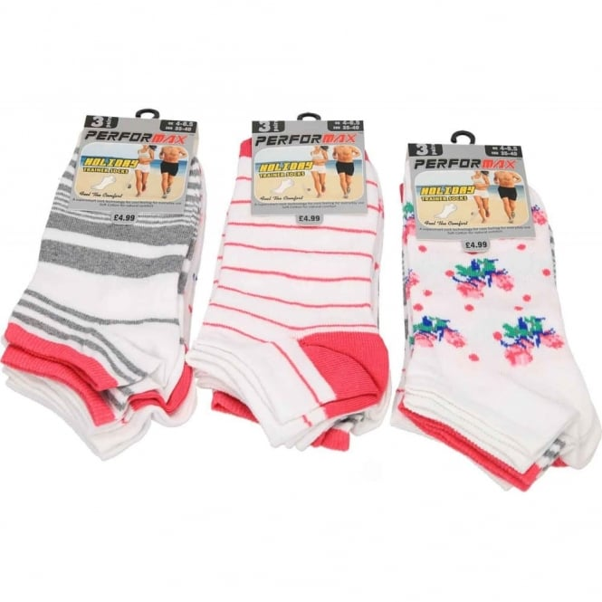 Performax Ladies Soft Cotton Holiday Trainer Ankle Socks