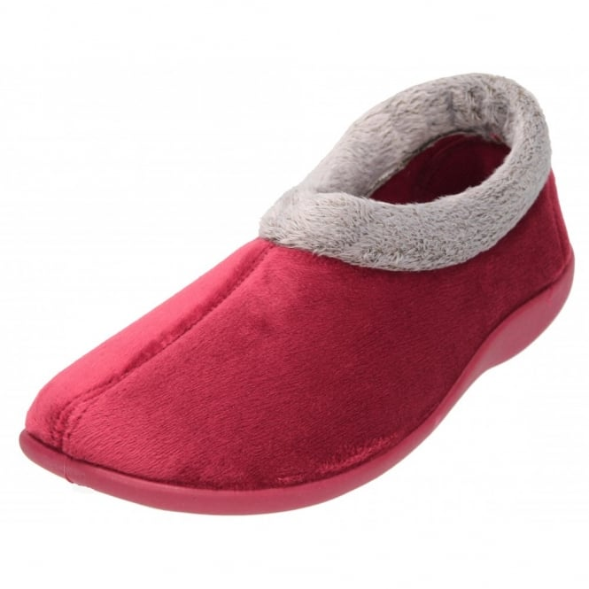 Piri Piri CLEARANCE red Memory Foam Slippers Cosy Warm Lined Trim