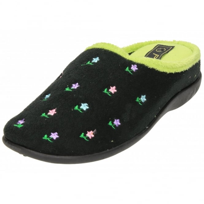 Piri Piri Slipper Mules Clogs Wedge Heel Memory Foam Flower