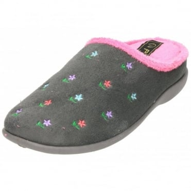 Slipper Mules Clogs Wedge Heel Memory Foam Flower
