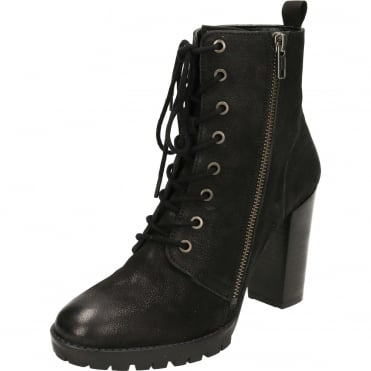 Alverstone Leather Heeled Lace Ankle Boots Black