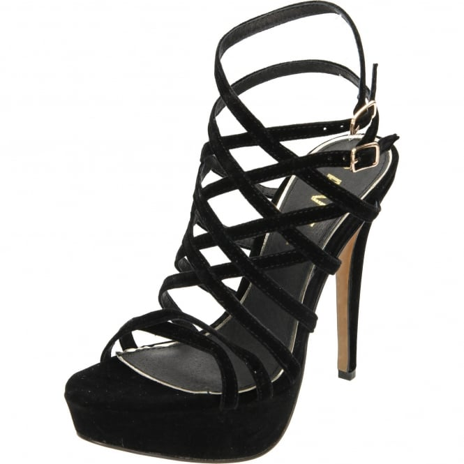 Ravel Archer Heeled Strappy Caged Platform Velvet Sandals