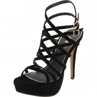 Archer Heeled Strappy Caged Platform Velvet Sandals