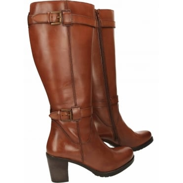 Dothan Heeled Leather Knee Boots 6/39 NEW WITH DEFECT