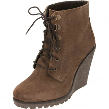 Trinity Suede Leather Wedge Lace Up Ankle Boots