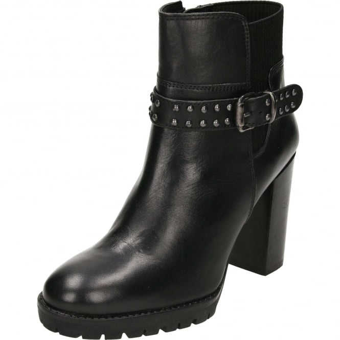 Ravel Whatley Leather Heeled Ankle Boots Black