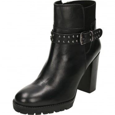 Whatley Leather Heeled Ankle Boots Black