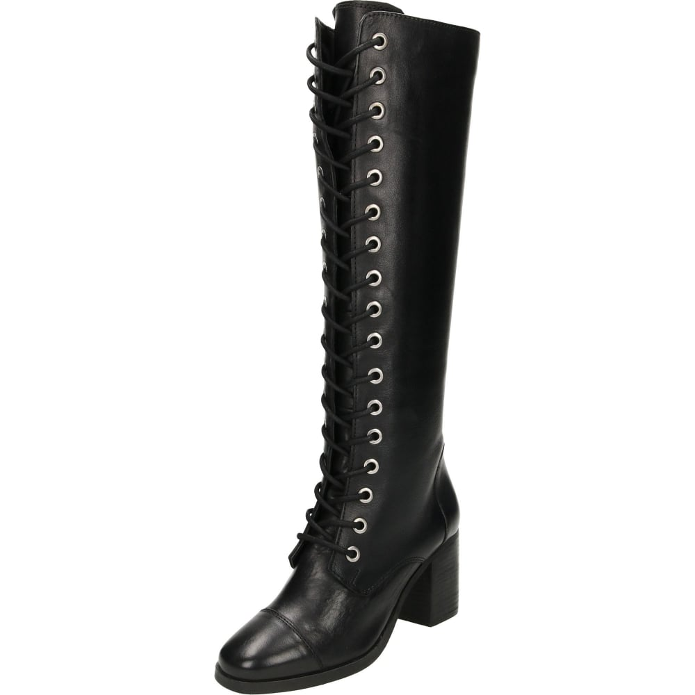 b4c30d58359 Ravel Winslow Leather Lace Up Heeled Knee Boots Black