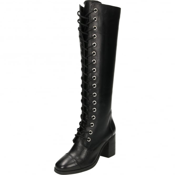 Ravel Winslow Leather Lace Up Heeled Knee Boots Black