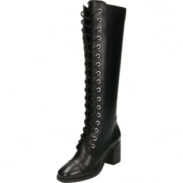 Winslow Leather Lace Up Heeled Knee Boots Black
