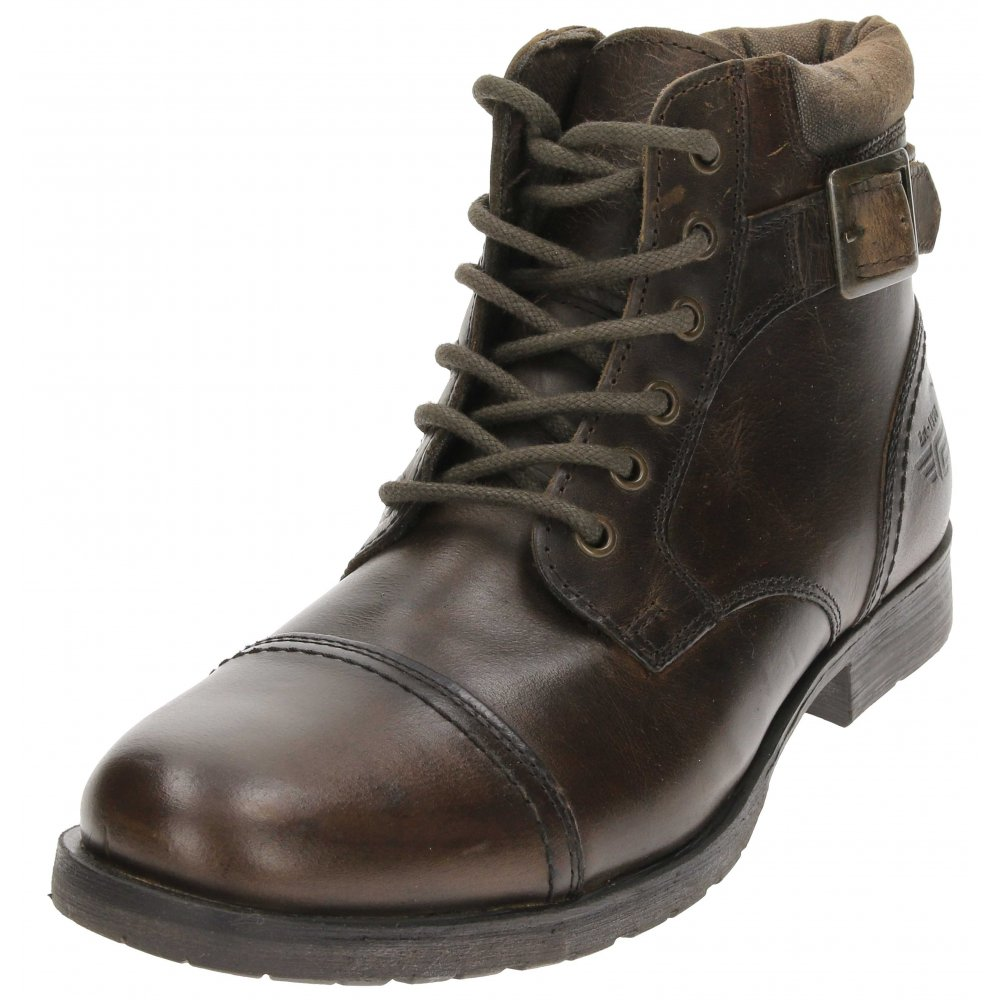 ankle boots real leather brown lace up