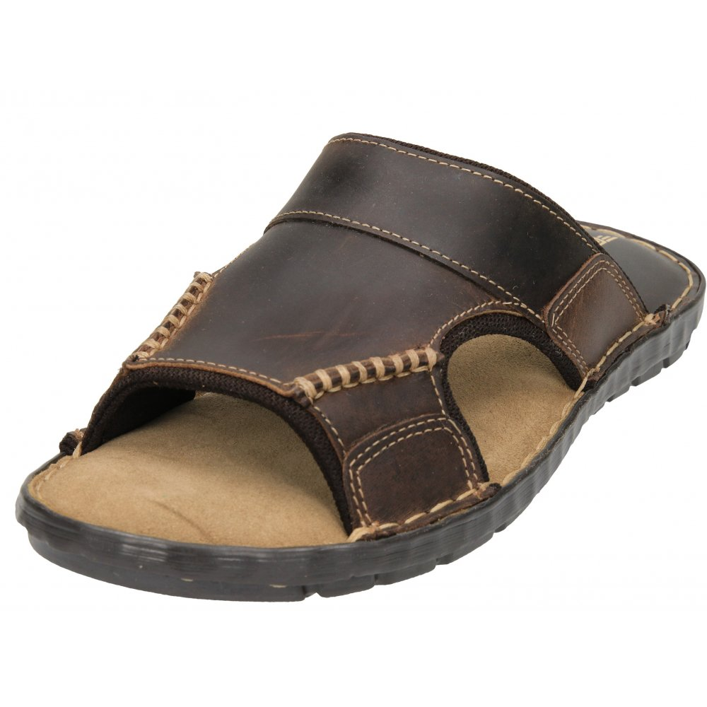 Red Tape Mens Brown Real Leather Slip