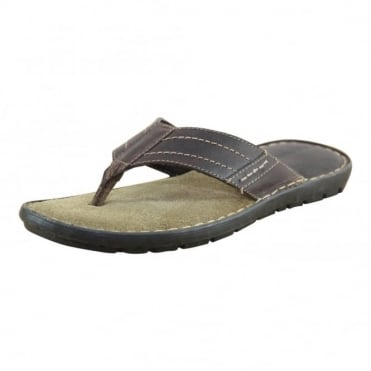 Mens Leather Brown Flip Flops Toe Post Slip On Sandals