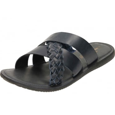 Mens Leather Mule Cross Strap Sandals