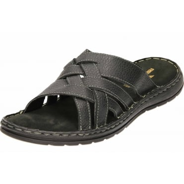 Mens Leather Mule Padded Flexible Open Toe Sandals