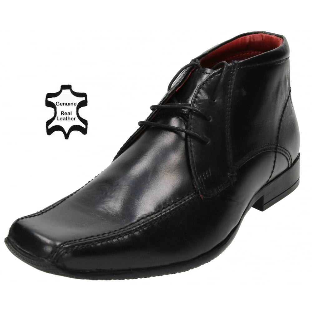 black square toe lace up boots