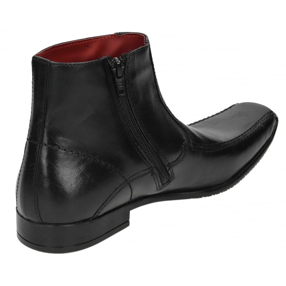 mens real leather ankle zip up boots square toe