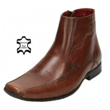 Mens Real Leather Ankle Zip Up Boots Square Toe Chelsea