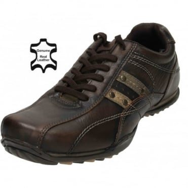 Mens Real Leather Casual Lace Up Trainers Shoes