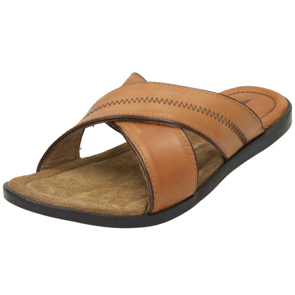 mens real leather mules slip on summer sandals