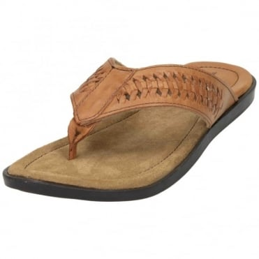 Mens Real Leather Toe Post Flip Flops Sandals