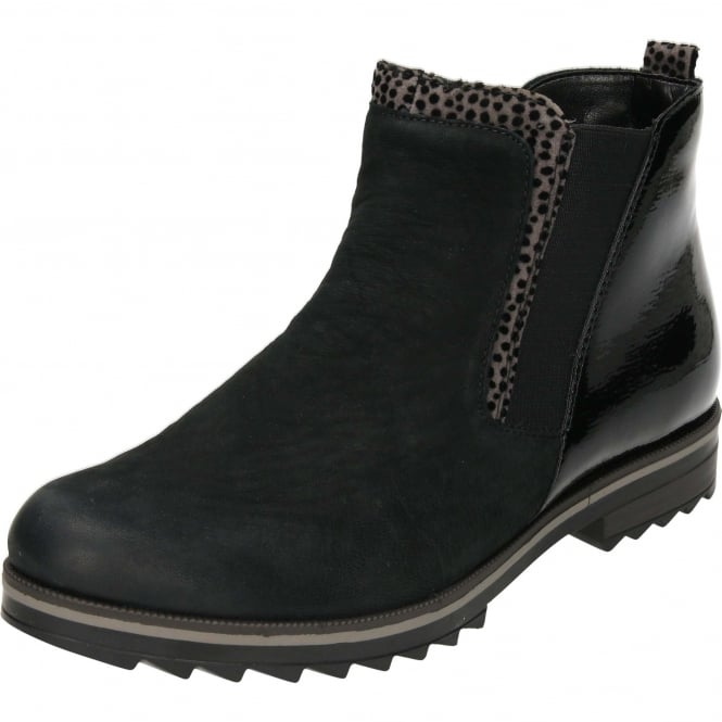 Remonte Chelsea Flat Nubuck Patent Zip Black Ankle Boots R2280