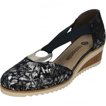 D5502-14 Wedge Two Part Elasticated Heeled Shoes