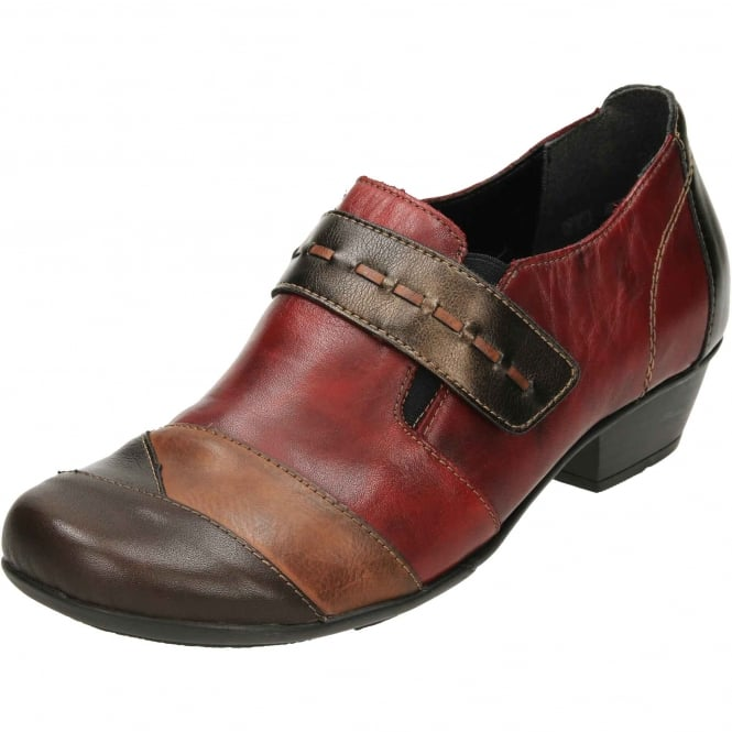 Remonte D7304-35 Leather Low Heel Ankle Boots Trouser Shoes Red Brown