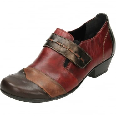 D7304-35 Leather Low Heel Ankle Boots Trouser Shoes Red Brown