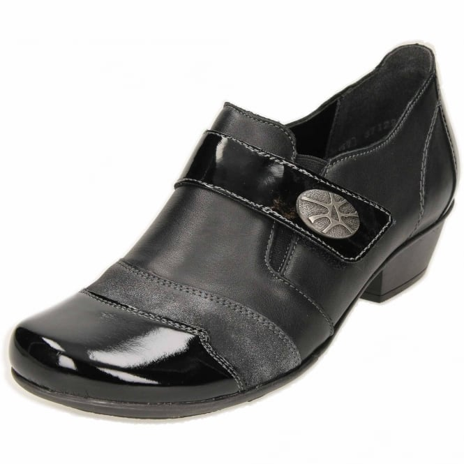 Remonte D7333-01 Low Heel Ankle Boots Trouser Shoes Black Patent