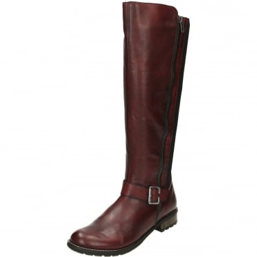 Flat Knee High Leather Elasticated Stretchy Boots R3358-35