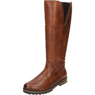 Flat Leather Riding Boot Style Zipper Boots R2277